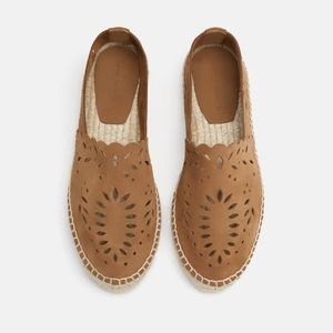 NWT Zara Openwork Leather Espadrilles